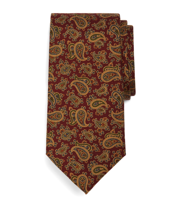 Ancient Madder Small Paisley Print Seven-Fold Tie Burgundy