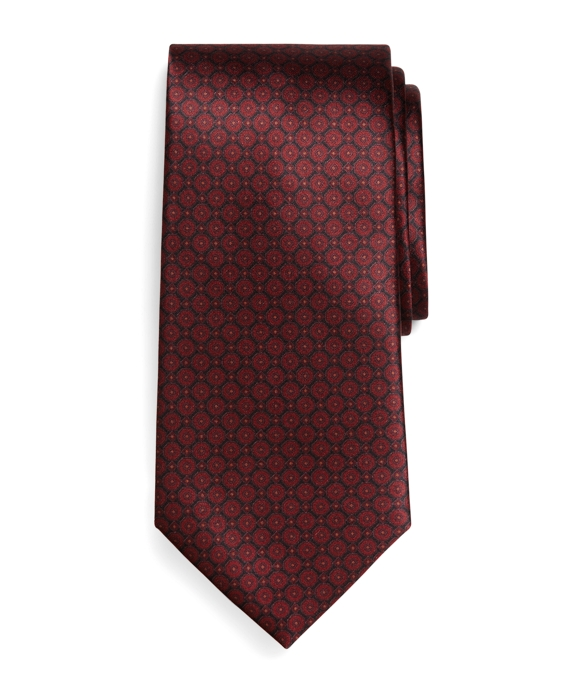 Golden Fleece® Seven-Fold Micro Medallion Print Tie Burgundy
