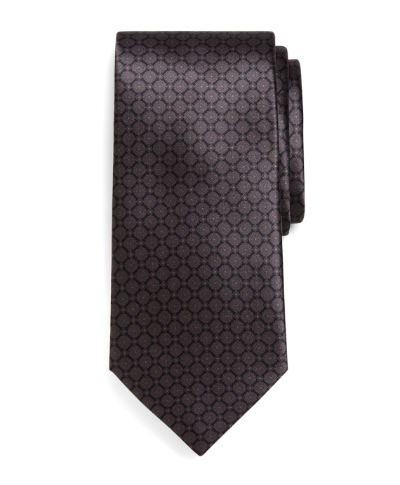 Golden Fleece® Seven-Fold Micro Medallion Print Tie Grey