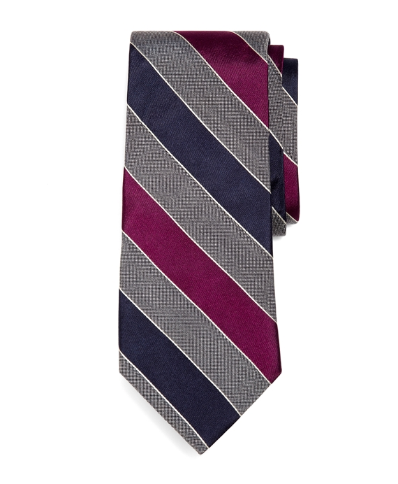 Satin Triple Stripe Tie Grey