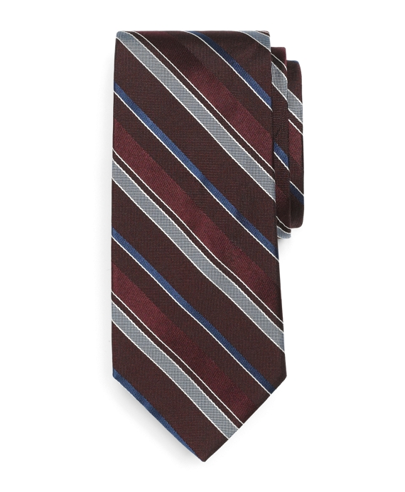 Natte and Satin Stripe Tie Burgundy