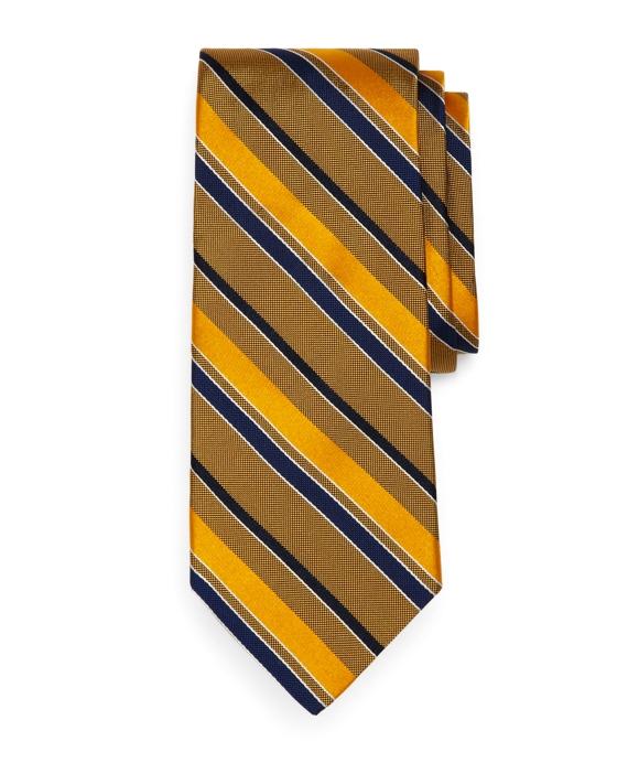 Natte and Satin Stripe Tie Gold