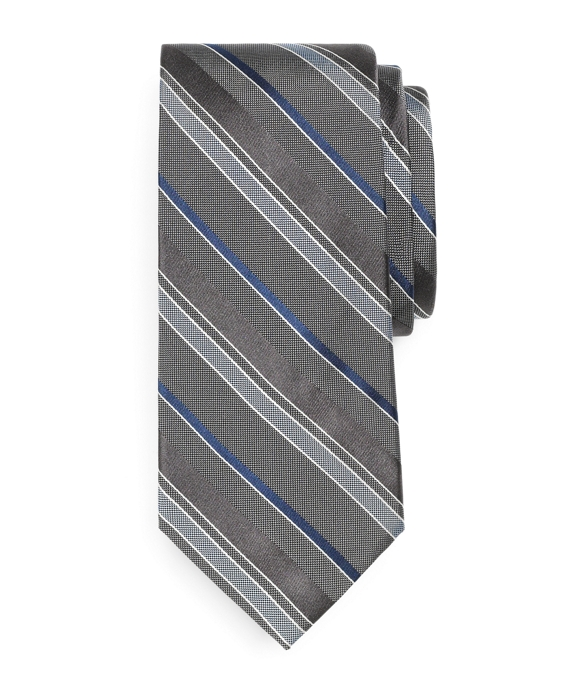 Natte and Satin Stripe Tie Grey