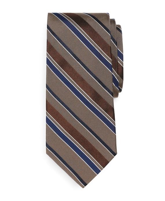 Natte and Satin Stripe Tie Tan