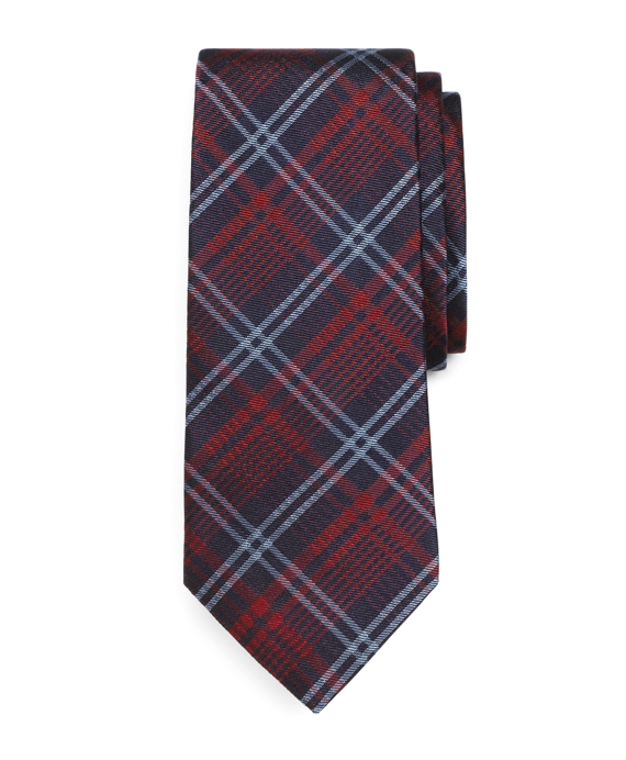 Plaid Tie Burgundy
