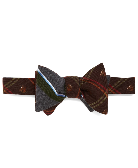 Social Primer Reversible Bow Tie: Horse Plaid and Sidewheeler Stripe Brown
