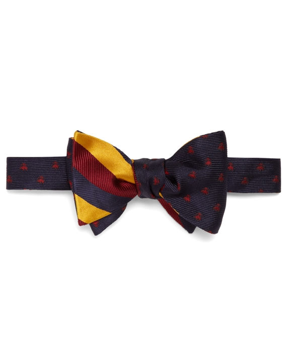 Social Primer Reversible Bow Tie: Mini Golden Fleece® and Satin and Twill Triple Stripe Navy