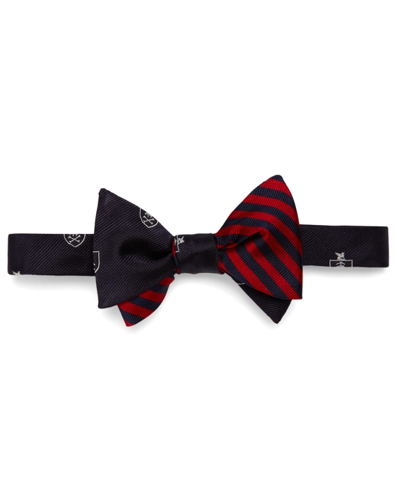 Social Primer Reversible Bow Tie: Golden Fleece® Shield and BB#5 Stripe Navy-Red