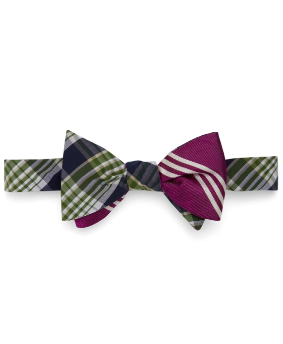 Social Primer Reversible Bow Tie: Ombre Check and BB#10 Stripe Green-Purple