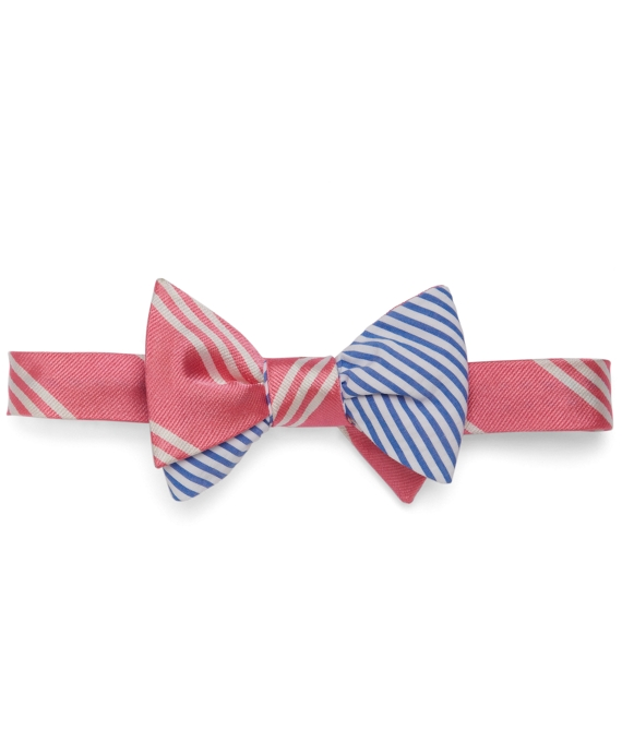 Social Primer Reversible Bow Tie: BB#10 Stripe and Seersucker Stripe Pink-Blue