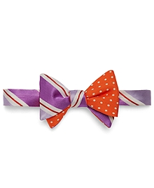Social Primer Reversible Bow Tie: Wide Tonal Stripe and Dot Print