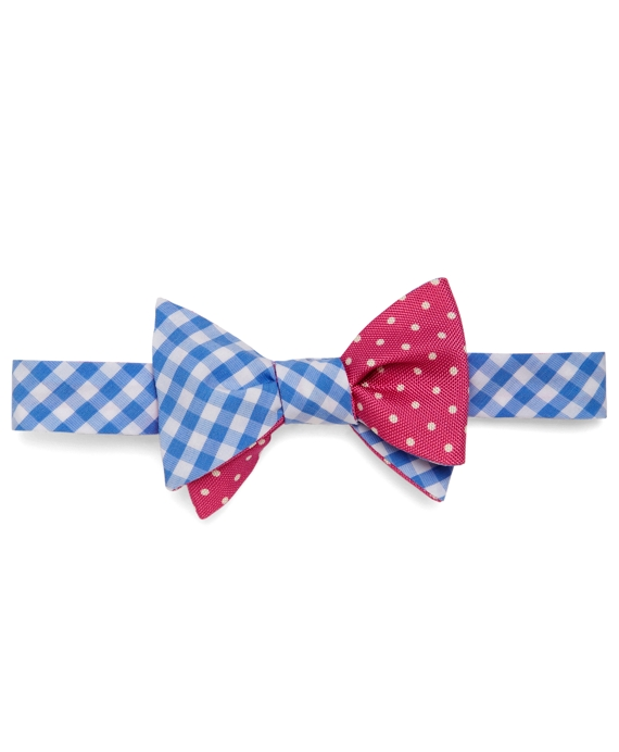Social Primer Reversible Bow Tie: Gingham and Dot Print Light Blue-Pink