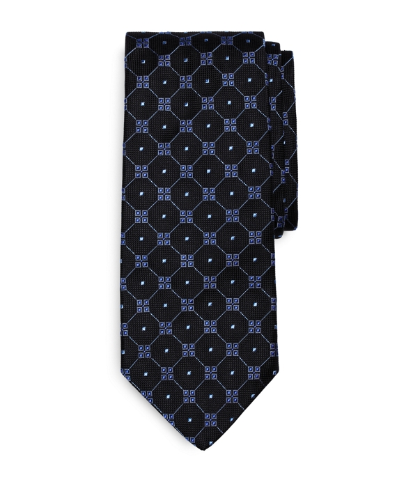 Four-Square Grid Tie Black