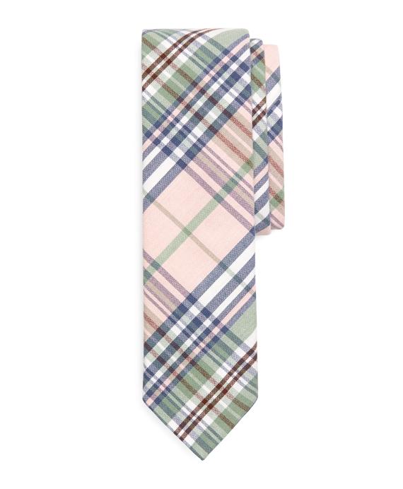 Plaid Slim Tie Pink