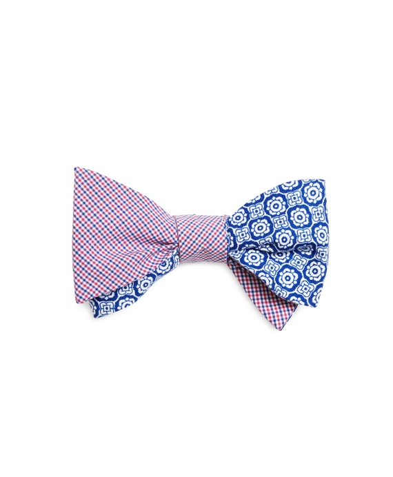 Micro Tattersall with Floral Print Reversible Bow Tie Pink-Blue