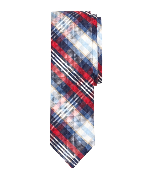 BB#1 Plaid Slim Tie Red