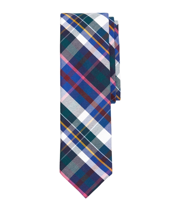 Plaid Slim Tie Navy