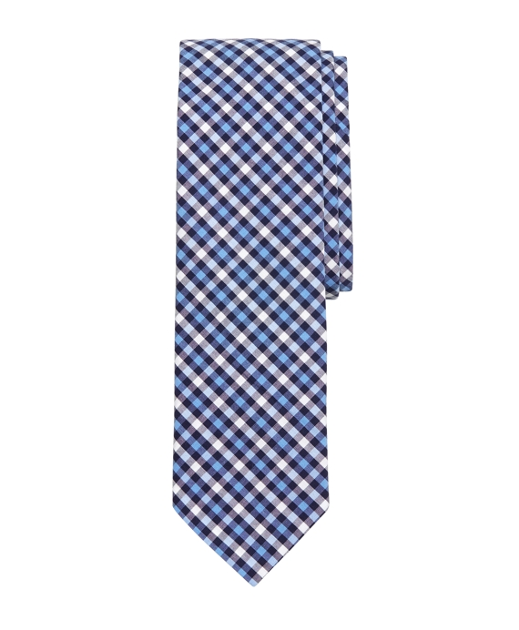 Tonal Check Slim Tie Navy