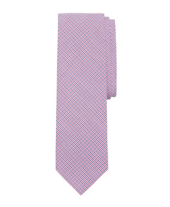 Micro Tattersall Slim Tie Pink