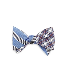Music Stripe with Plaid Reversible Bow Tie