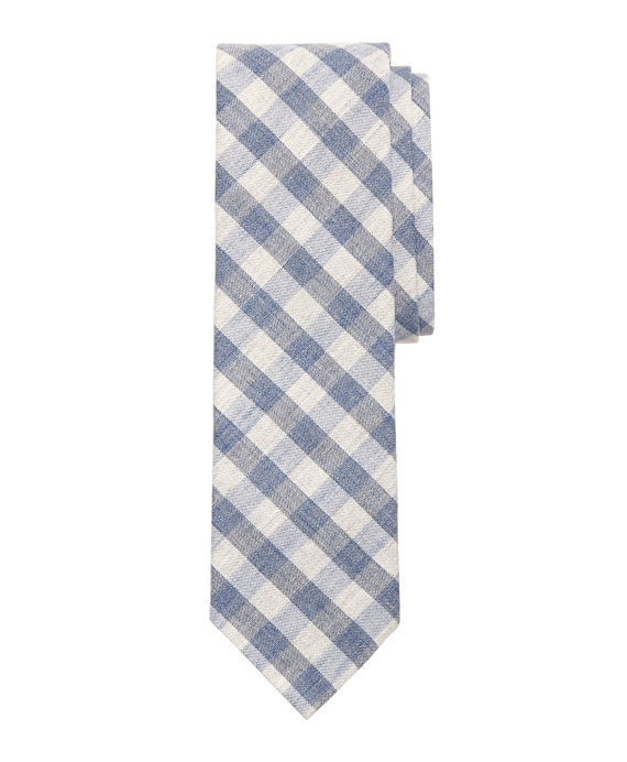 Heathered Gingham Slim Tie Navy