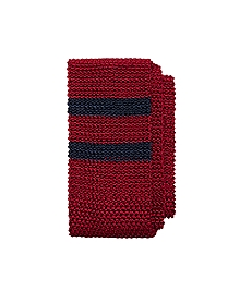 Placed Double Stripe Knit Tie
