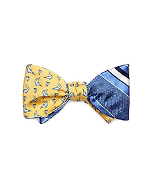 Marlin and Natte Wide Stripe Reversible Bow Tie