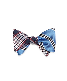 Plaid with Mini BB#1 Stripe Reversible Bow Tie