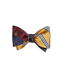 Mini BB#1 Stripe with Crest Reversible Bow Tie