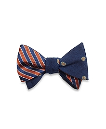 Mini Paisley Print with Framed Stripe Reversible Bow Tie