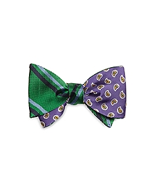Double Stripe with Pine Reversible Bow Tie