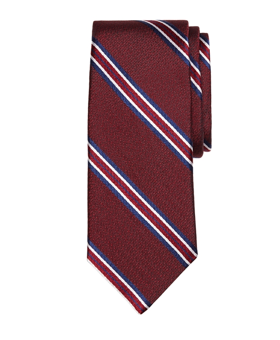 Framed Stripe Tie Burgundy