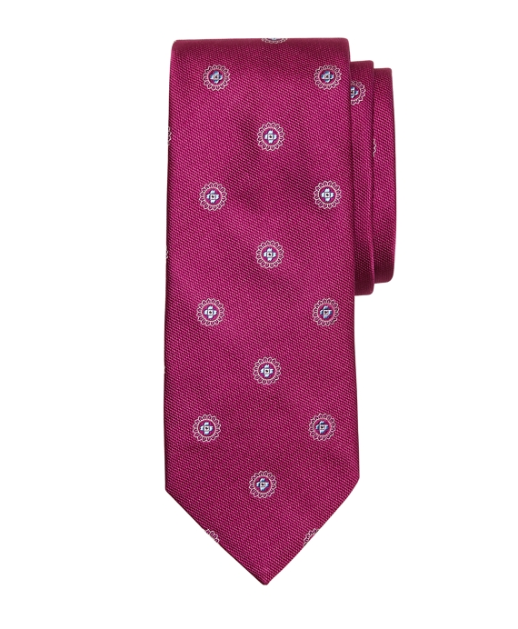 Textured Spaced Medallion Tie Purple