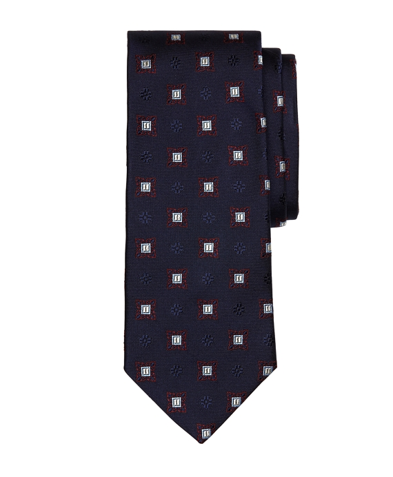 Large Spaced Medallion Tie Navy