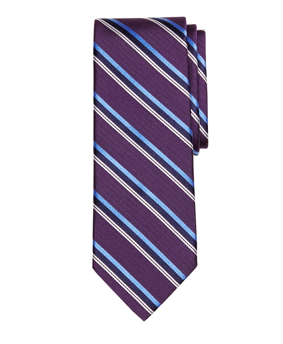 Herringbone Sidewheeler Stripe Tie Purple
