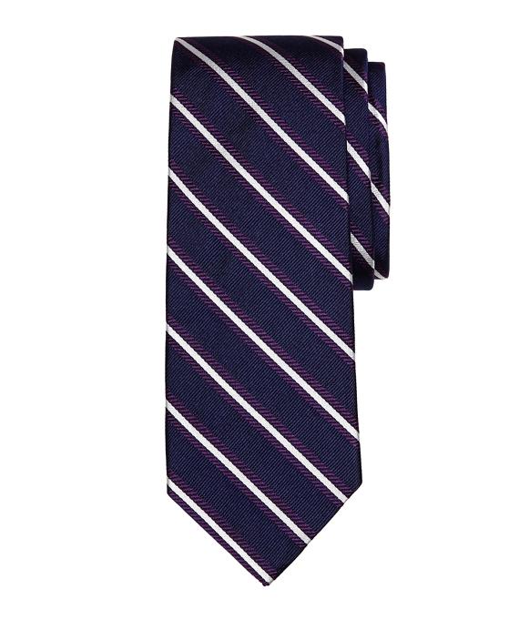 Framed Repp Stripe Tie Navy