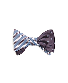BB#1 Stripe with Four-Petal Flower Reversible Bow Tie