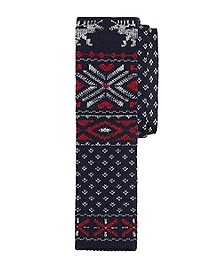 Reindeer and Snowflake Knit Tie