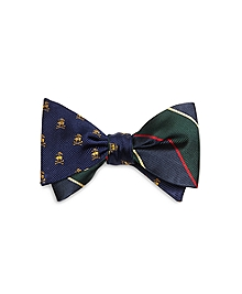 Fleece Crossbones with Argyle and Sutherland Repp Stripe Reversible Bow Tie