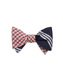 Mini Check with Large BB#10 Stripe Reversible Bow Tie