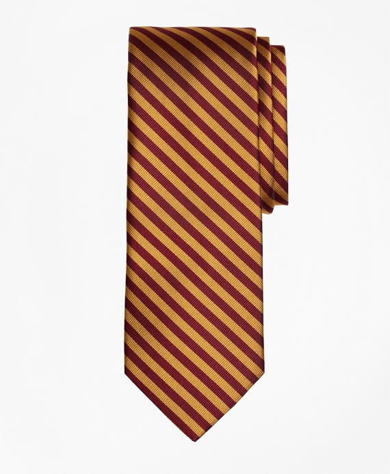 BB#5 Repp Tie Gold-Burgundy