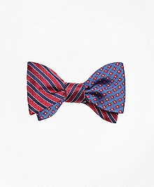 Textured Framed Stripe with Four Petal Flower Reversible Bow Tie