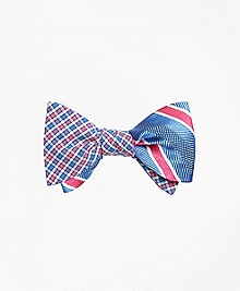 Check with Bold Textured Stripe Reversible Bow Tie