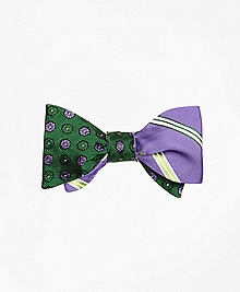 Tonal Flower with Alternating Stripe Reversible Bow Tie