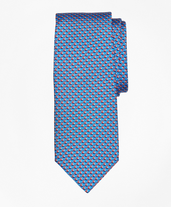 Sailboat Print Tie Blue