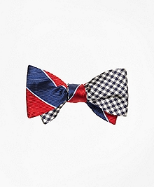 Rugby Stripe with Gingham Reversible Bow Tie