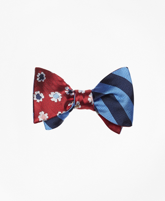Floral with BB#4 Stripe Reversible Bow Tie
