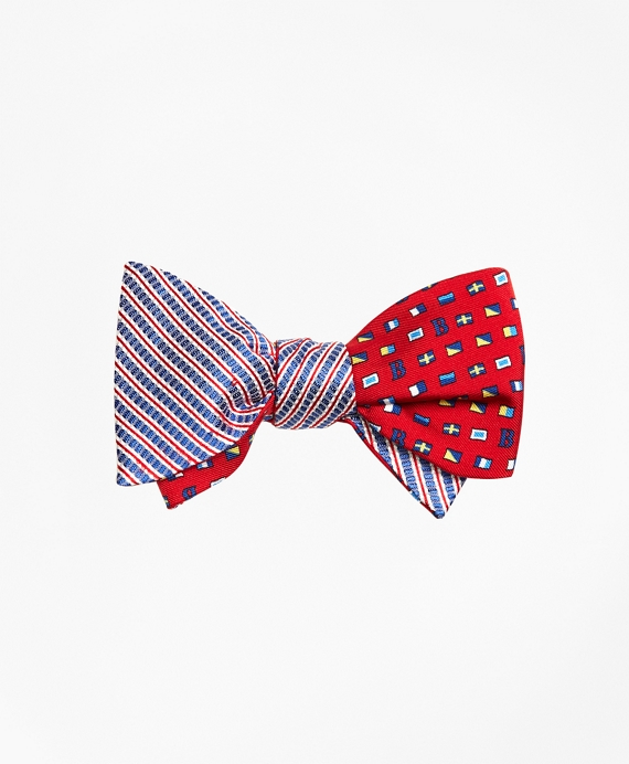 Seersucker with Flags Reversible Bow Tie