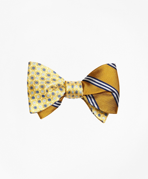 Mini Flower with Mini BB#1 Stripe Reversible Bow Tie