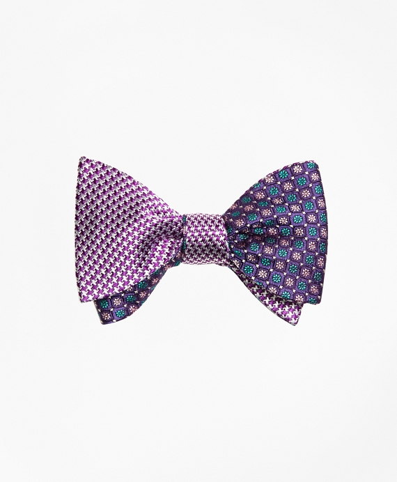 Houndscheck with Mini Flower Reversible Bow Tie Purple